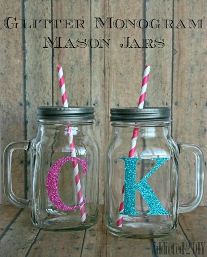 Pretty DIY Glitter Monogram Mason Jars