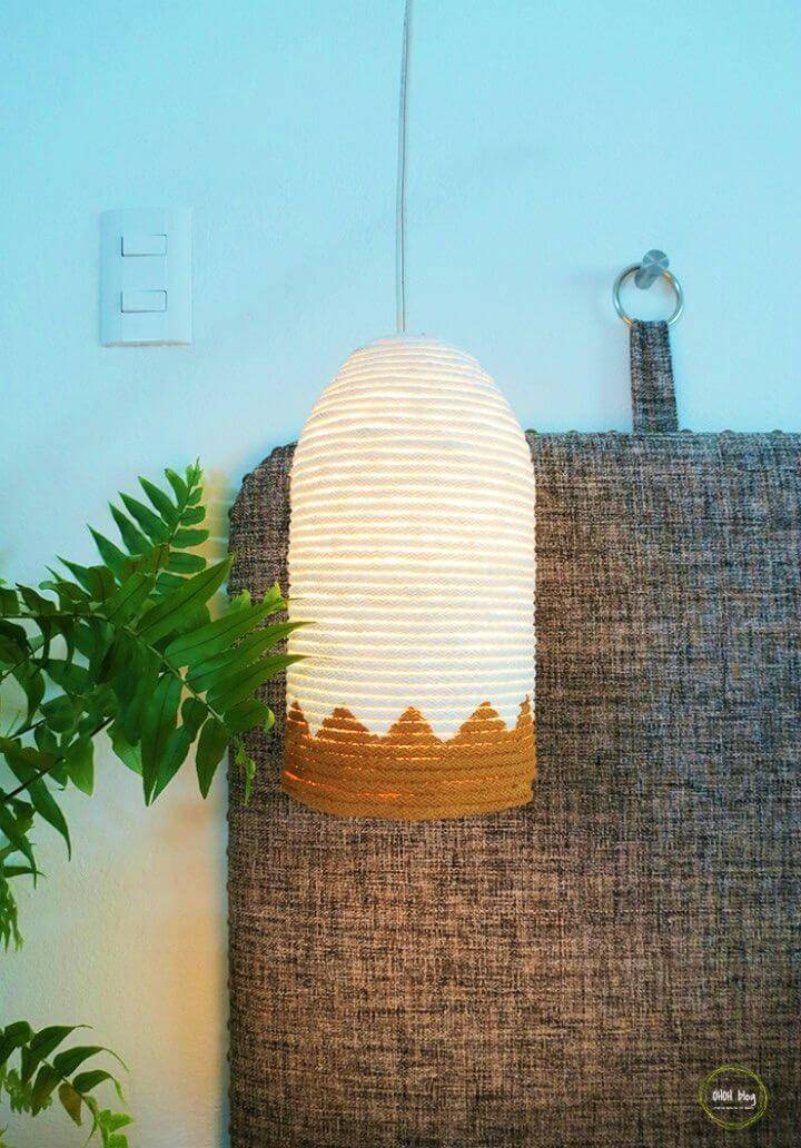 Pretty DIY Plastic Bottle and Rope Lampshade