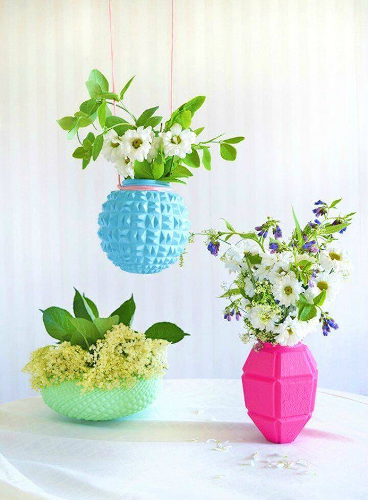Pretty DIY Upcycled Lampshade Vases