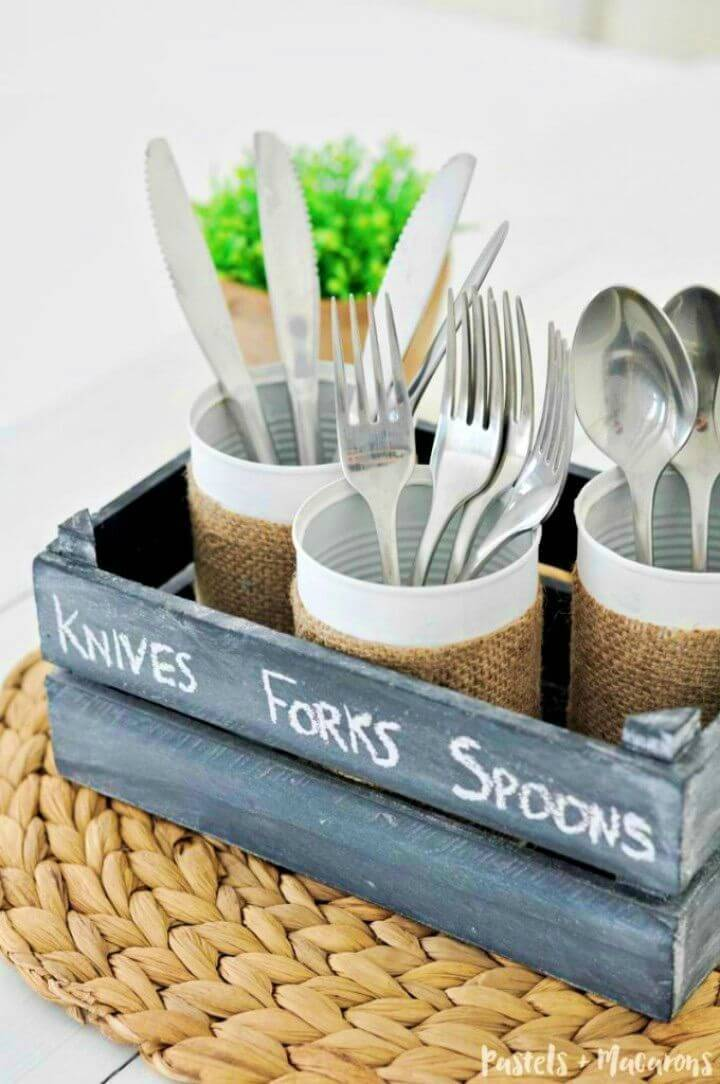 Quick DIY Tin Can Silverware Caddy