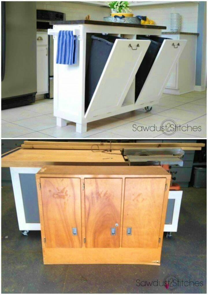 Recycle Cabinet Into a Kitchen Island