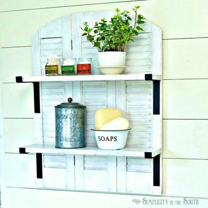 Repurposed Shutters Bathroom Shelf