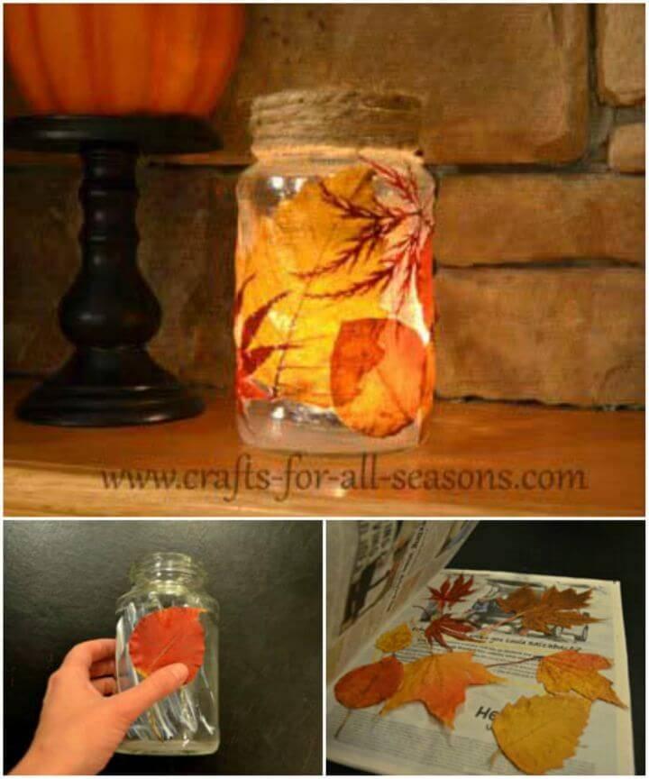 Simple DIY Decoupage Leaves on a Mason Jar