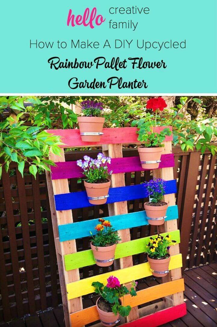 Upcycled Rainbow Pallet Flower Garden Planter