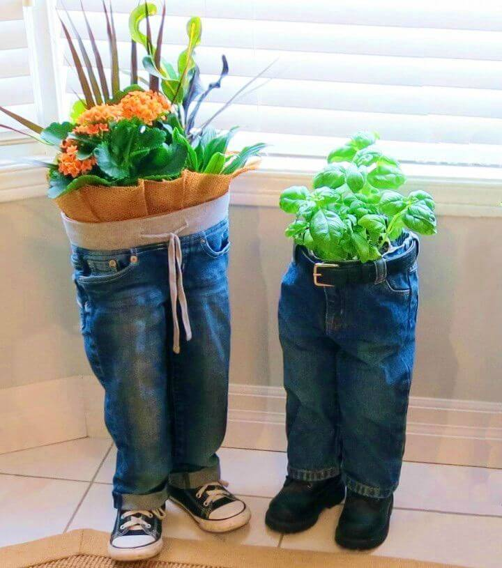Wonderful DIY Blue Jean Planters
