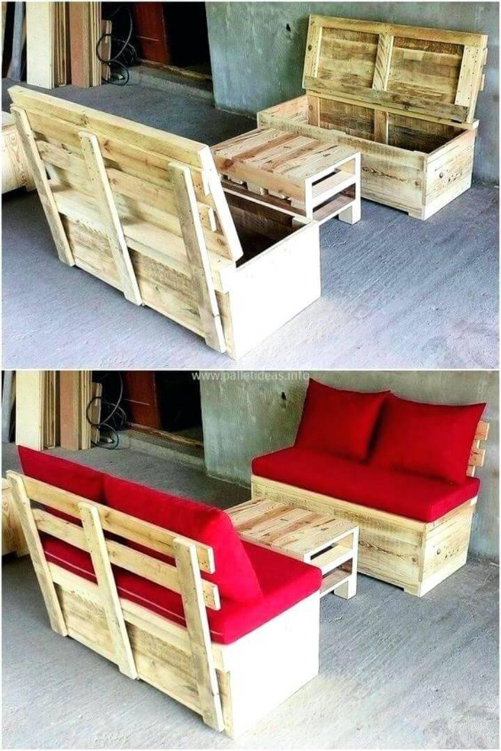 DIY Pallet Seats with Storage