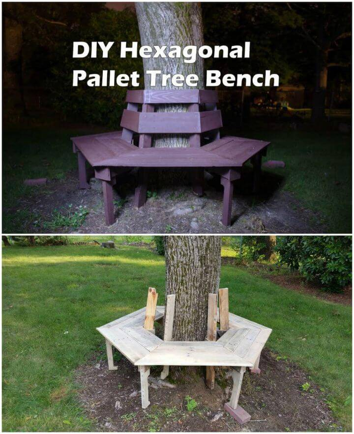 Make Hexagonal Tree Bench From Wood Pallets