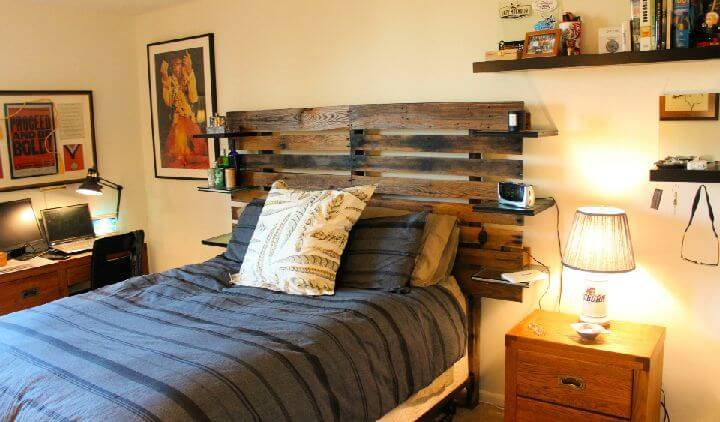 Pallet Headboard Out Of Reused Pallet Woo with Led Lights