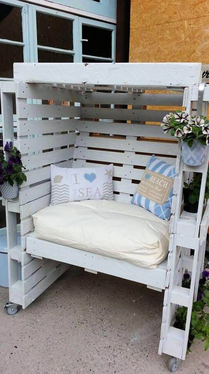 Turn Pallets into Enclosed Seating Area