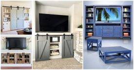 15 DIY Entertainment Center Plans for DIY Weekend Home Project