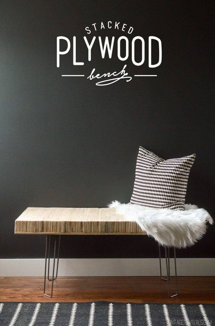 Adorable DIY Stacked Plywood Bench