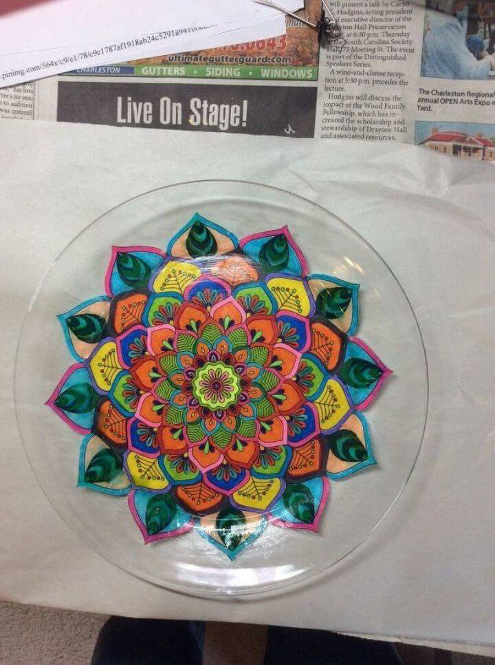 Beautiful DIY Plate Using Adult Coloring Pages