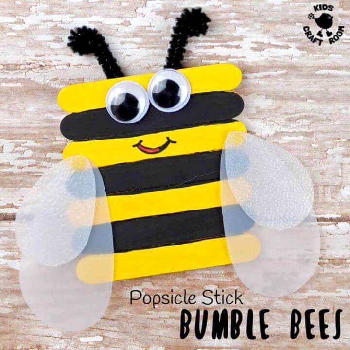 Cute DIY Popsicle Stick Bee Craft