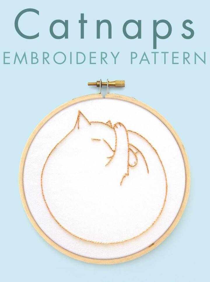 DIY Catnaps Embroidery Pattern