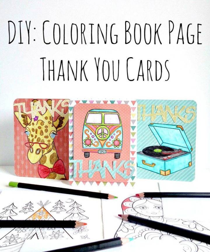 DIY Coloring Book Thank You Cards