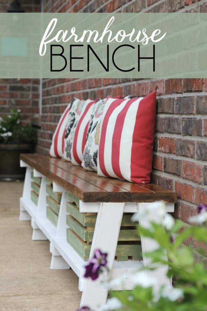 DIY Farmhouse Bench with Storage