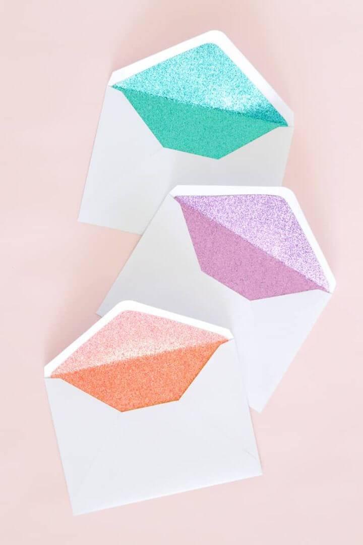 DIY Glitter Lined Envelopes