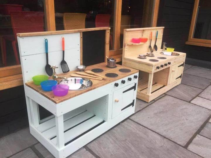 DIY Pallet mud kitchens for Kids