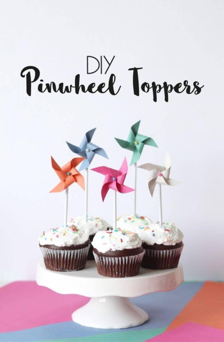 DIY Paper Pinwheel Cupcake Toppers