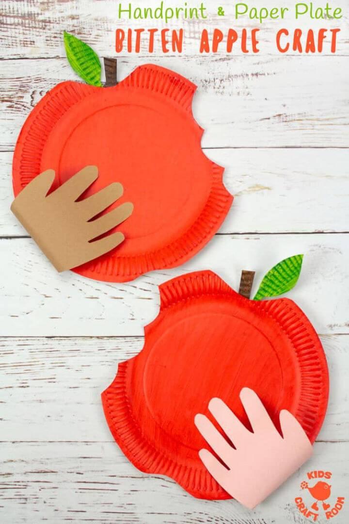 DIY Paper Plate Bitten Apple Craft