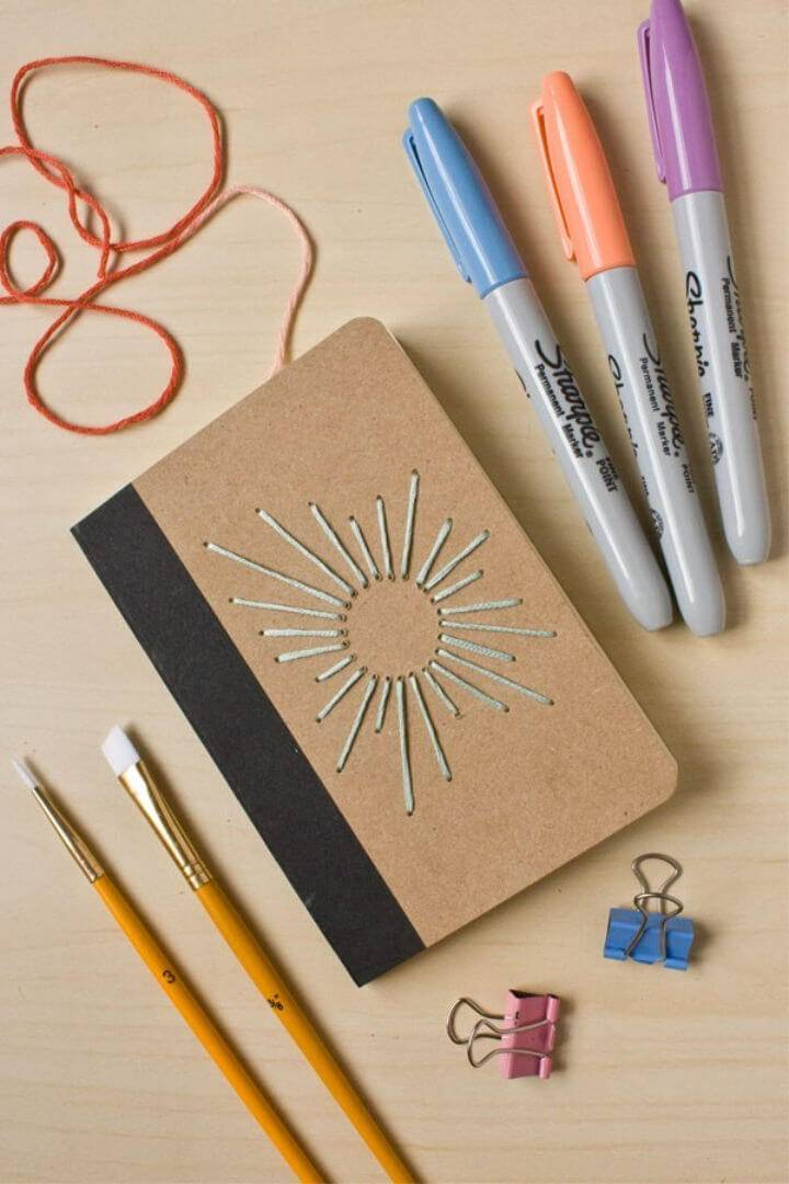 DIY Sunburst Embroidered Notebook