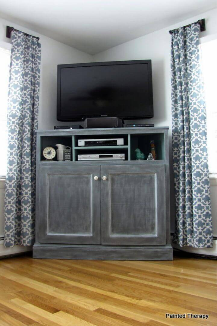 DIY Tall Corner Media Console