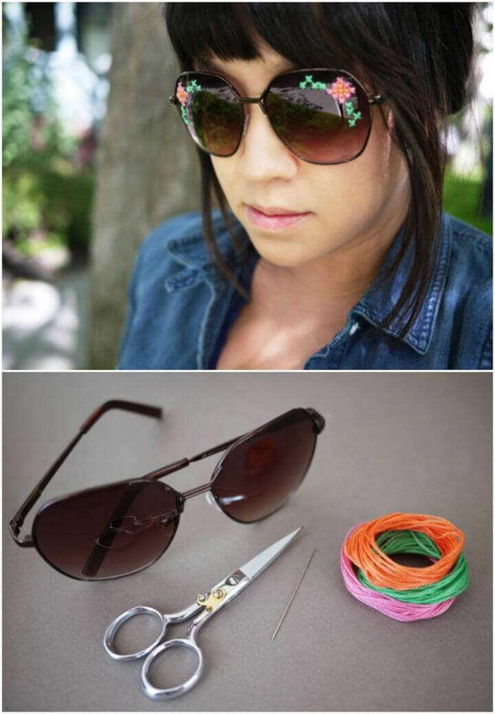 Easy DIY Embroidered Sunglasses