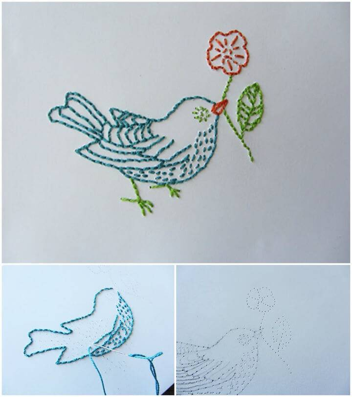 Embroidered Birdie Card Pattern