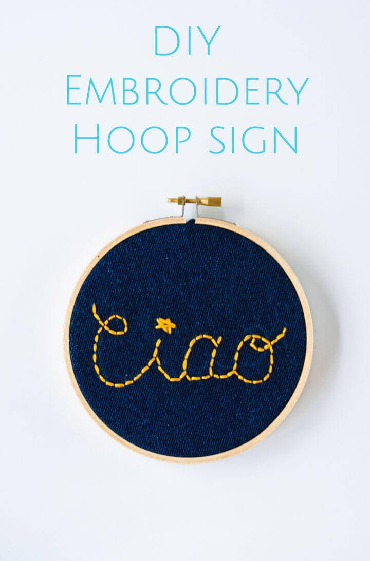Embroidery Hoop Ciao Sign