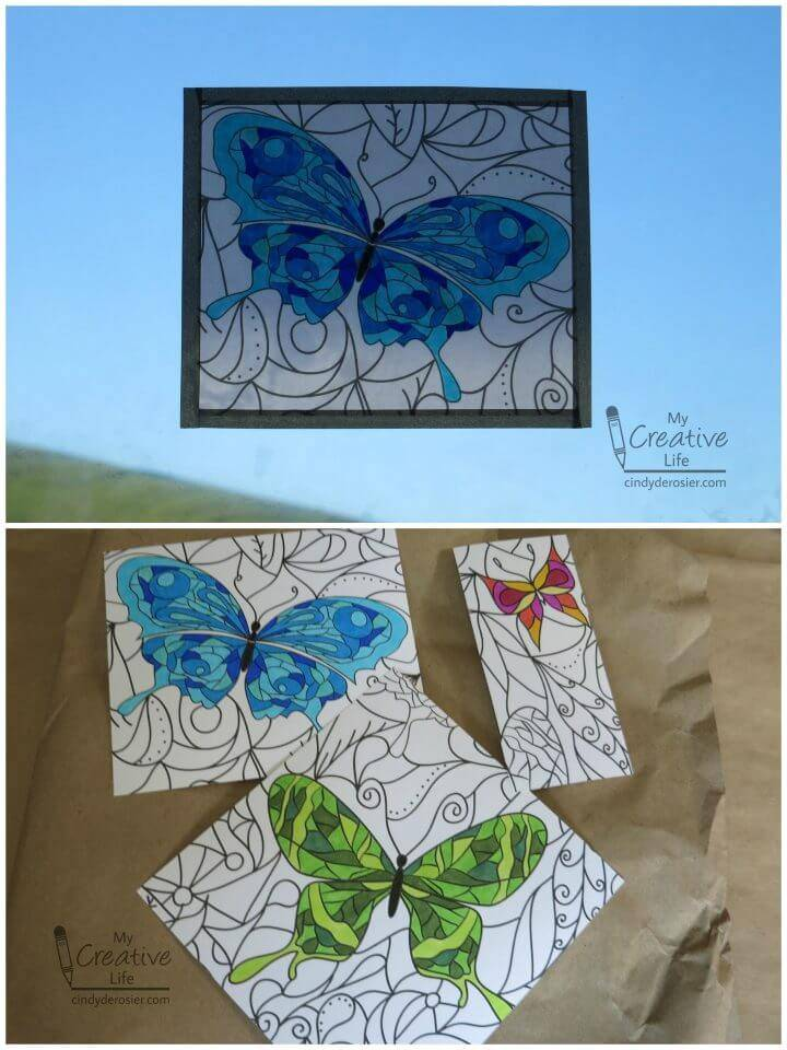 Faux Stained Glass from a Coloring Book