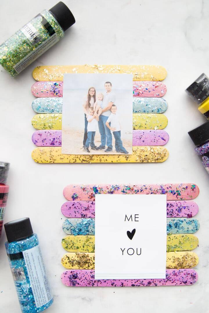 Glitter Popsicle Stick Frame for Kids