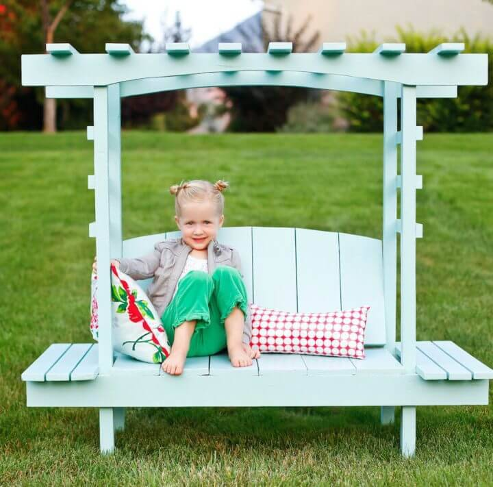 Gorgeous DIY Childs Bench with Arbor