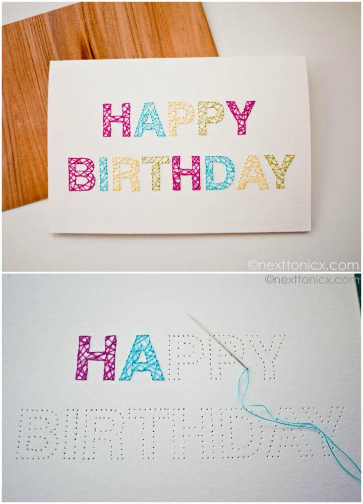 Happy Birthday Embroidery Card