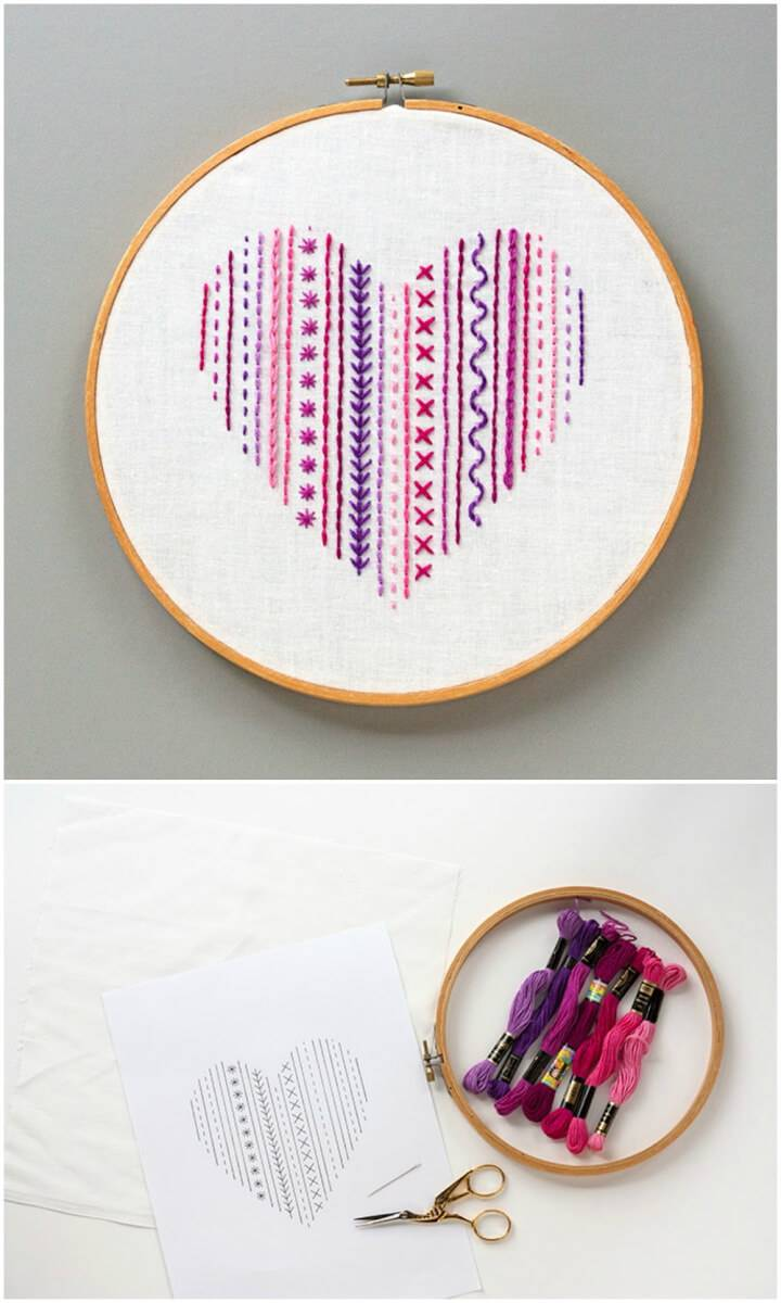 Heart Embroidery Sampler for Beginners