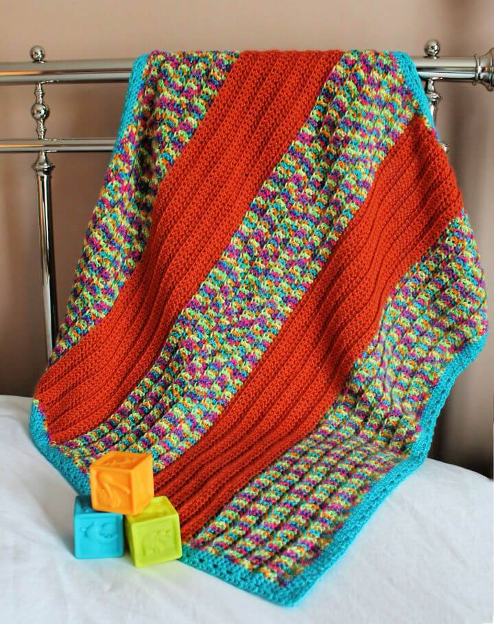 How to Crochet Broad Stripe Baby Blanket