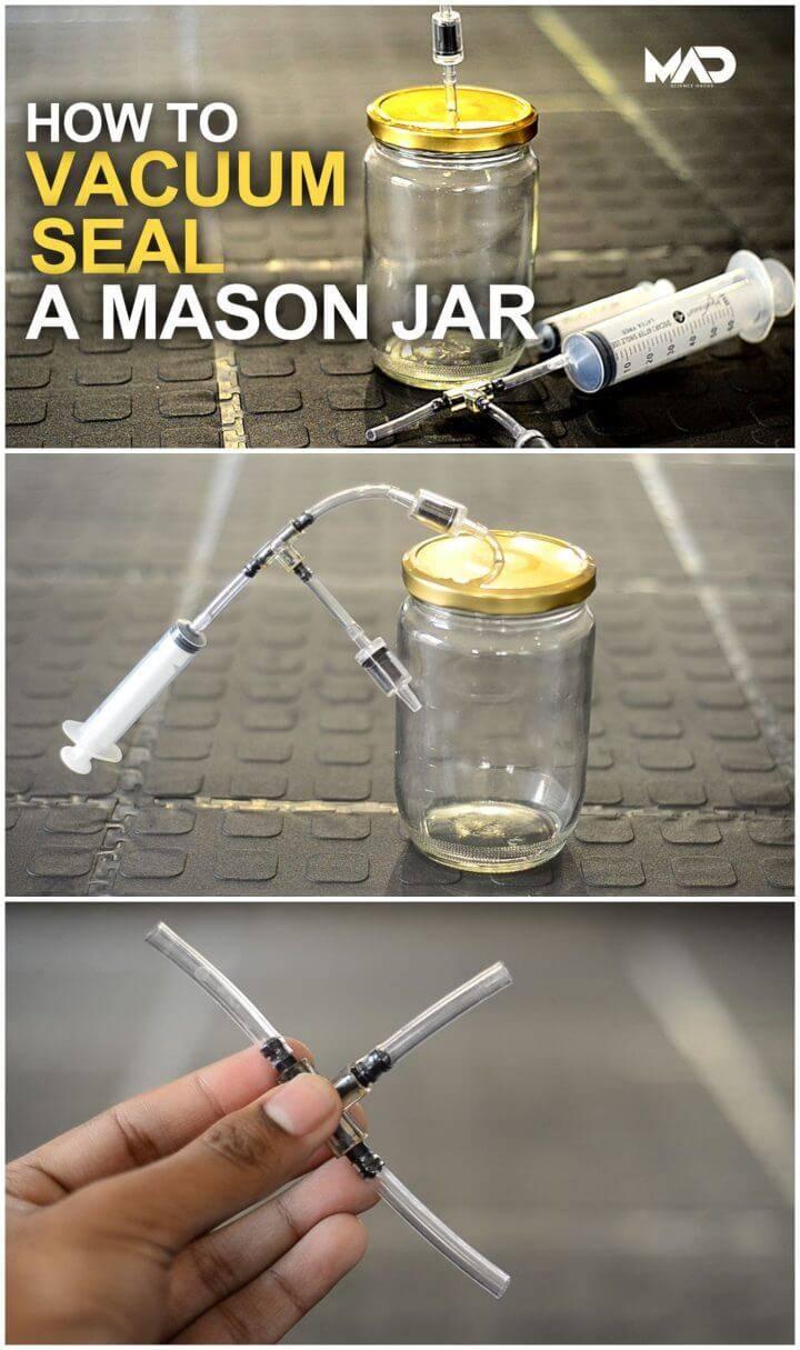 Inexpensive DIY Mason Jar Vacuum Seal