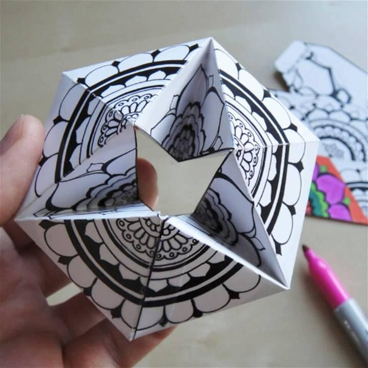Make Coloring Page Kaleidocycle Craft
