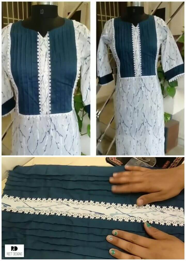 Make Pintex Neck Design with Lace
