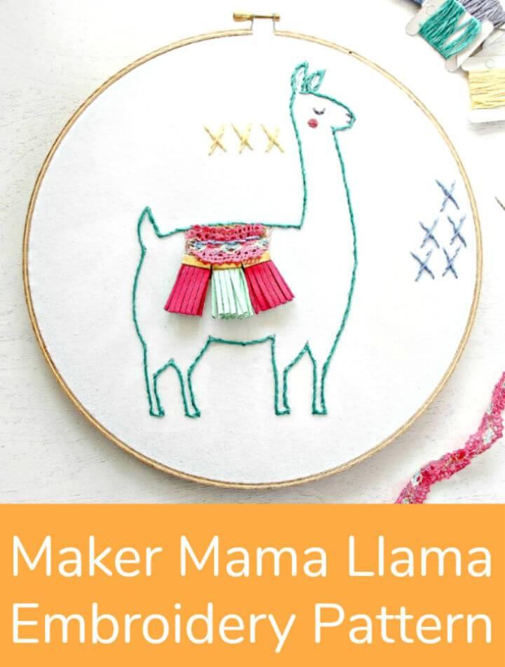 Mama Llama Embroidery Pattern