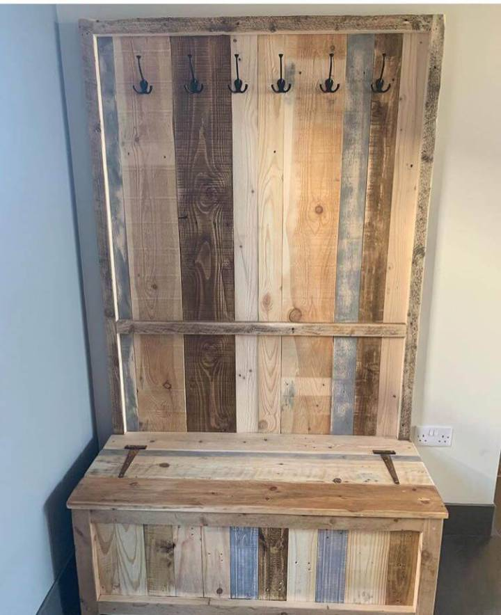 Pallet Rustic Coat Rack Seat and Storage with rusty hinges and vintage style hooks