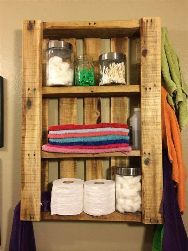 Pallet Wall Mounted Bathroom Shelves