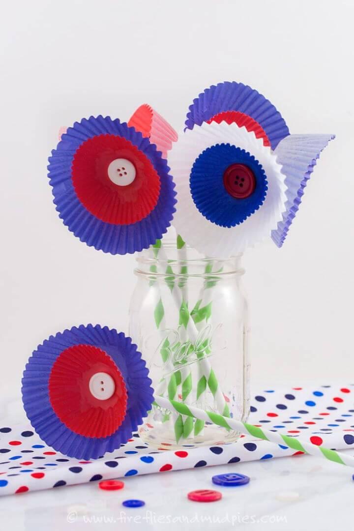 Patriotic Cupcake Liner Flowers 1