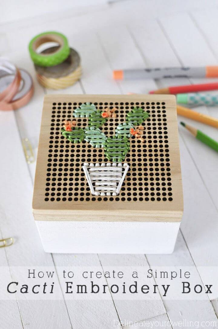 Pretty DIY Cacti Embroidery Box