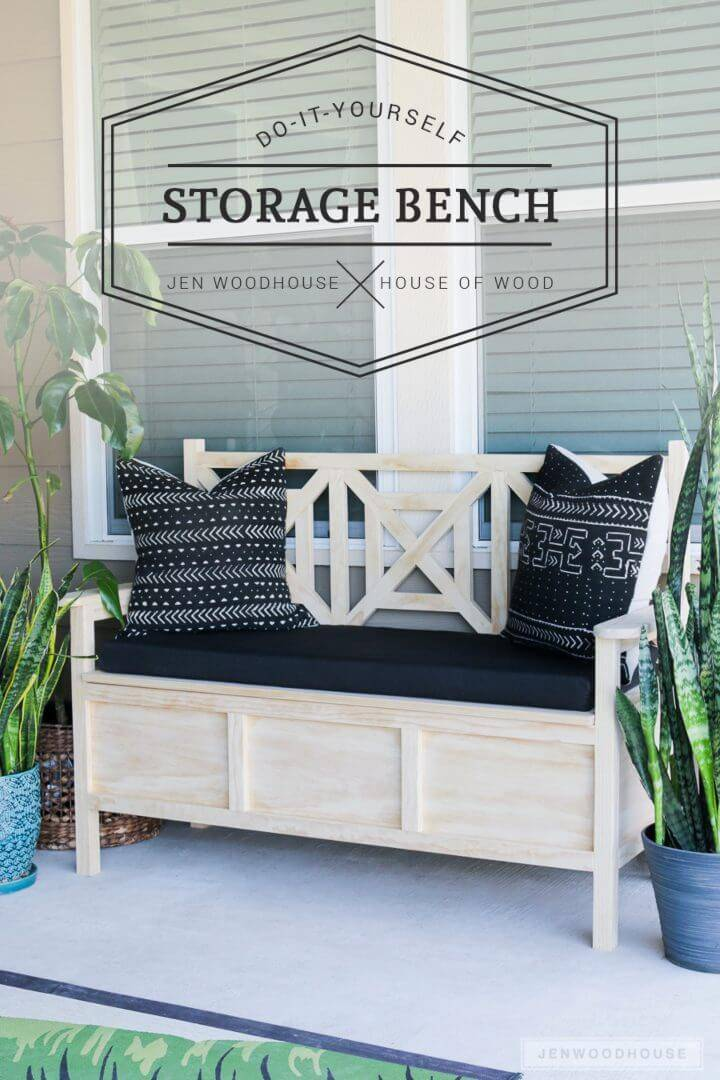 Unique DIY Outdoor Storage Bench