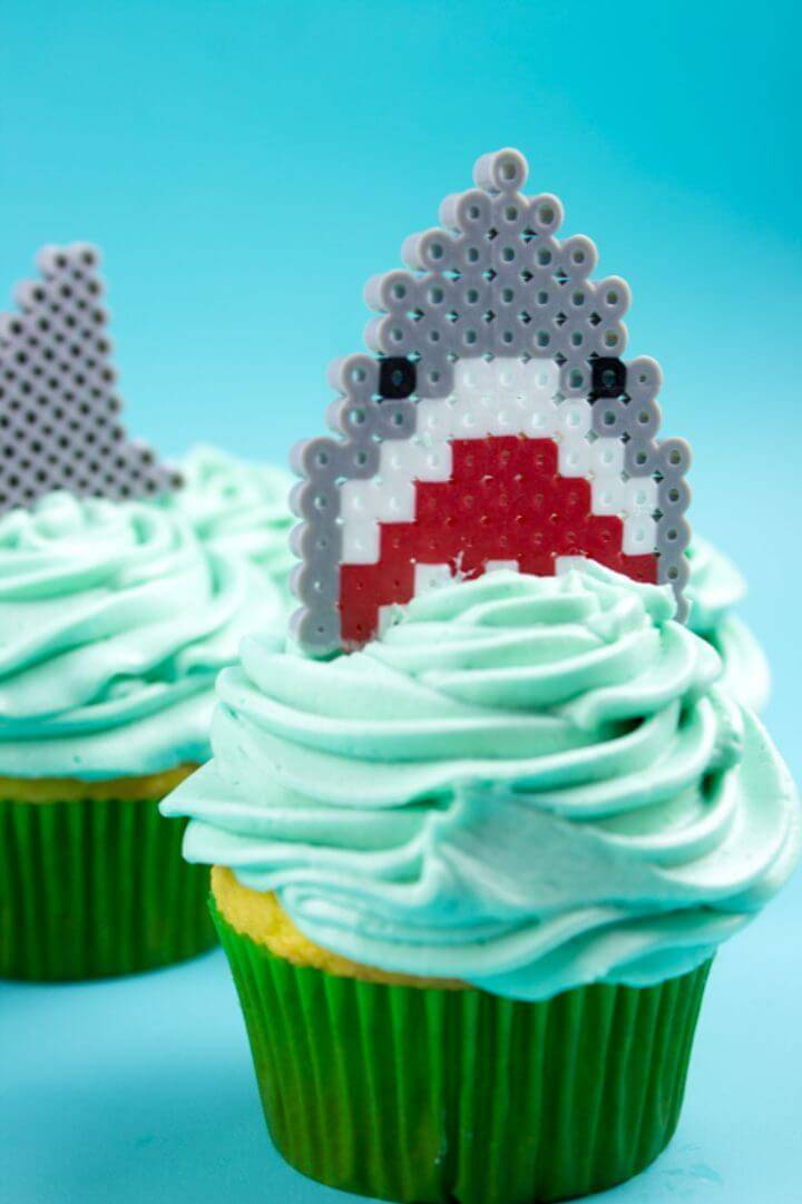 Vicious Perler Bead Shark Cupcake Toppers