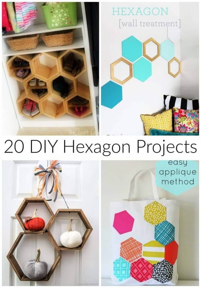 20 DIY Hexagon Projects, hexagon sewing projects, projects for hexies, diy hexagon shelves