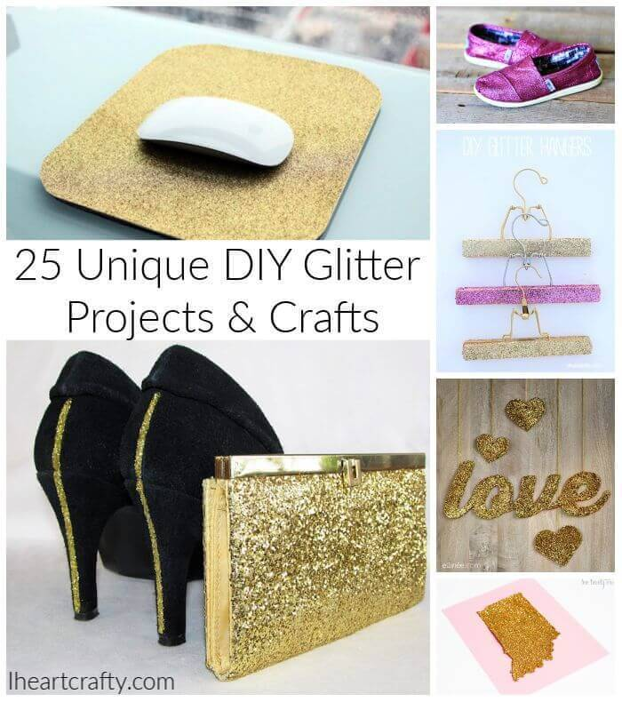 25 Unique DIY Glitter Projects and Glitter Crafts, 101 things to do with glitter, uses for glitter, glitter paper art