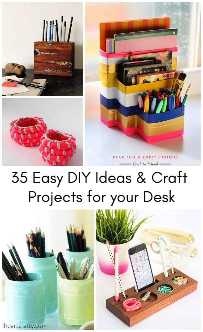 35 Easy DIY Craft Projects for your Desk, diy ideas for desk organization, diy desk organizer tray, diy organizer