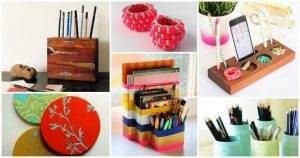 35 Easy DIY Craft Projects for your Desk diy ideas for desk organization diy desk organizer tray diy organizer