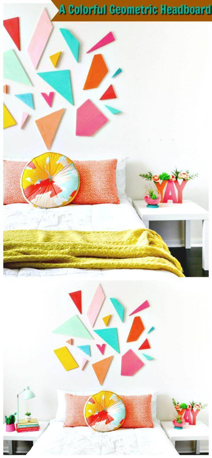 A Colorful Geometric Headboard